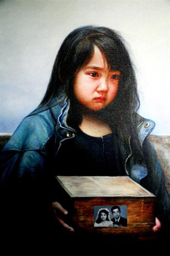 真善忍美展畫作《孤兒淚》。(大紀元資料室)