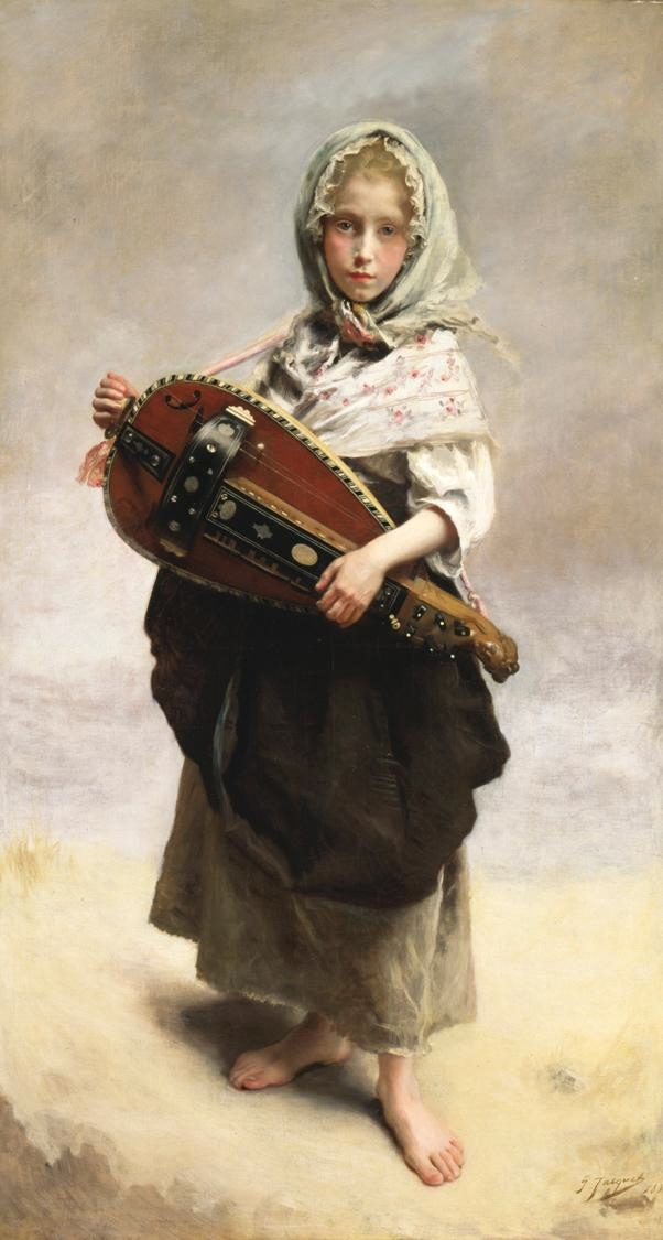 居斯塔夫·讓·雅凱,《遊吟女孩》(Girl Minstrel),1881年作,布面油畫,145 × 79 cm,克萊斯勒藝術博物館藏。(藝術復興中心提供)