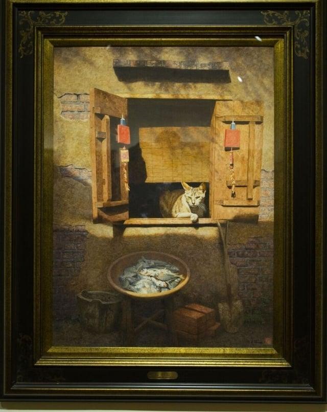 陳文福畫作《貓、魚、磚、圓鍬》代表著「年年有魚、蓋新厝」的思想意涵。