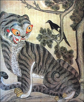 虎鵲圖是韓國常見的歲畫題材。(維基百科)