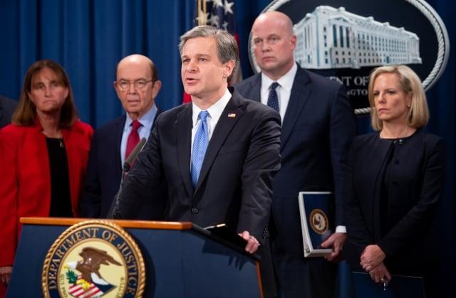 美東時間週一(1月28日)下午4點30分,美國政府宣布起訴華為及孟晚舟,並確認會向加拿大當局提出引渡孟晚舟的要求。(SAUL LOEB/AFP/Getty Images)