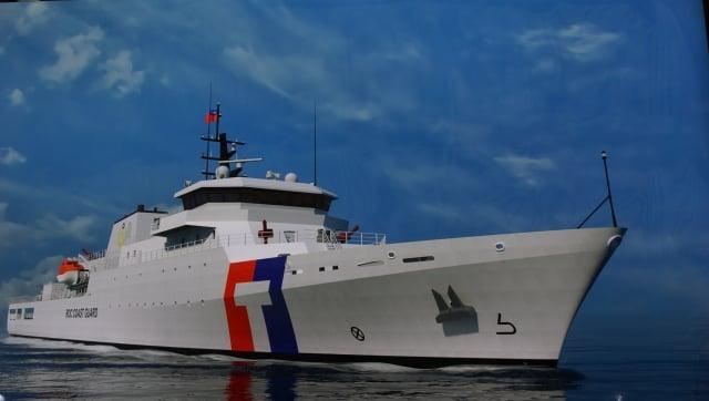 海巡署4艘4,000噸級巡防艦統包案,11日在台船舉行開工典禮,這是海巡首批最大噸位新艦。(中央社)