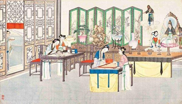 櫳翠庵妙玉扶乩玉,清孫溫繪《紅樓夢》第95回插圖。(維基百科)