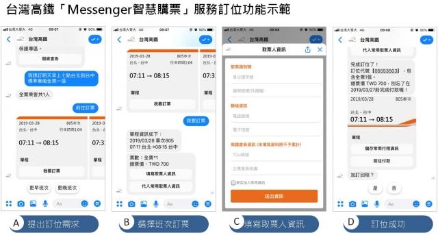 臉書「Messenger智慧購票」示範。(高鐵公司提供)