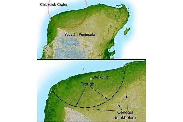 雷達的探測呈現出直徑接近200公里的希克蘇魯伯隕石坑邊界。它是一個位在墨西哥尤卡坦半島的撞擊隕石坑,埋藏在地表之下。(NASA/JPL-Caltech)