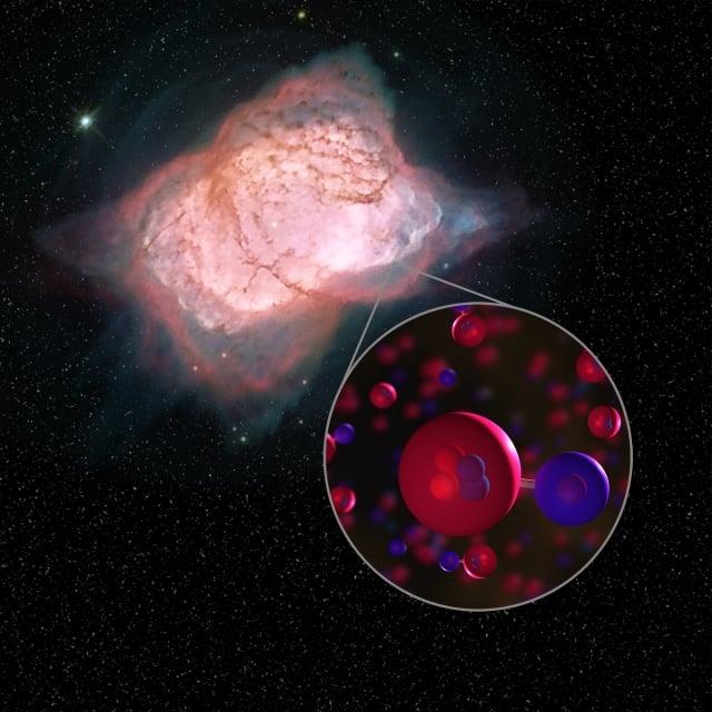 科學家首次在NGC 7027行星狀星雲發現氫化氦這種宇宙中第一個形成的分子結構。此為示意圖。(NASA)