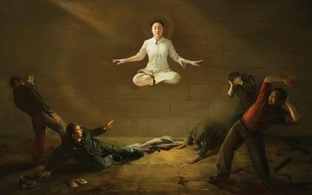 第二屆新唐人油畫大賽參展作品《震撼》,作者陳肖平。