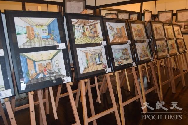 國立永靖高工學生以手繪圖設計住家。