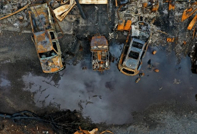 2019年2月11日,坎普野火過後3個月,燒成焦土的天堂鎮。(Getty Images)