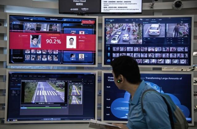 曾經參觀華為深圳總部的銀行家說,華為向外國推銷寬頻網路,實質是關於生態系統。城市監控示意圖。(Getty Images)