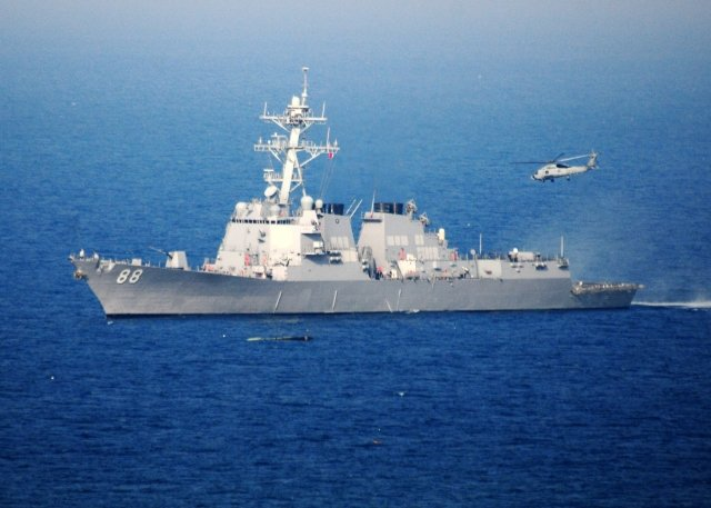 圖為普瑞布爾號驅逐艦DDG-88資料照。(MC3 Alexander Tidd / Navy Visual News Service (NVNS) / AFP)