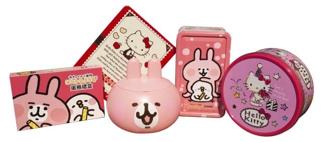 Amandier雅蒙蒂文創烘焙禮品推出的卡娜赫拉、Hello Kitty聯名商品。(業者提供)