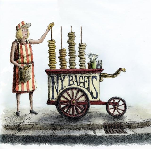 早年在紐約賣貝果的婦女。(大家出版社提供)