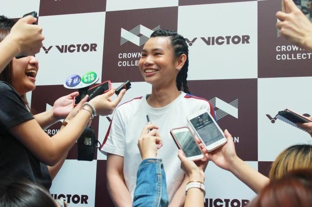 球后戴資穎現身台北101大樓,與球迷見面,圖為小戴受訪照。(badminton photo提供)
