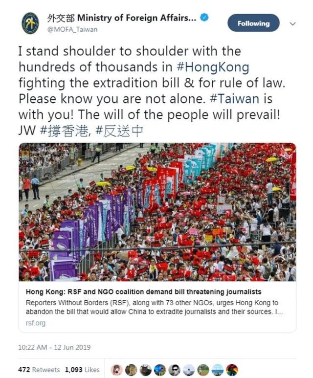 台外長吳釗燮12日在推特發文,力挺港人反逃犯條例惡法。(中華民國外交部推特截圖)
