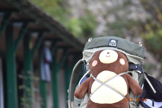 詹喬愉登山偶爾會帶著熊熊陪睡。