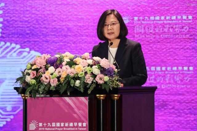 總統蔡英文表示,擁有宗教自由的民主生活,是台灣帶給世界的關鍵影響力。(中央社)