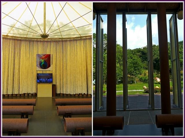 建築共有58根紙管支撐起整個教堂,室內與室外的長管椅也都是用紙製作的,讓人們見證,看似柔軟的紙材料,竟可撐起一棟建築物。(攝影/鄭清海)