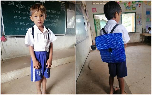 柬埔寨五歲男孩耿(NT Keng)要上學,而家裡繳完學費後已經沒錢買書包了,於是爸爸親自為他縫製了超經典的尼龍繩背包,網友讚「好感動又好時尚!」(Sophous Suon/大紀元合成)