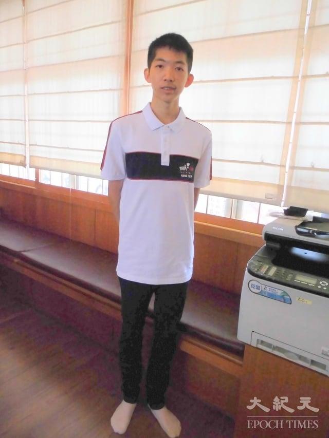 今年以第一高分進入員林高中的陳長壻同學。(記者謝五男/攝影)