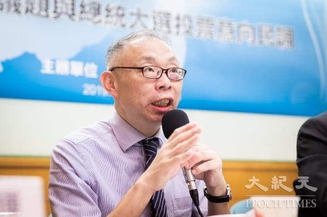 台灣師範大學政治學系教授范世平17日表示,藍綠支持者度對於國安五法、中共代理人的意見南轅北轍,此現象符合外媒觀察「台灣2020年是親美或親中道路的選擇」。(記者陳柏州/攝影)