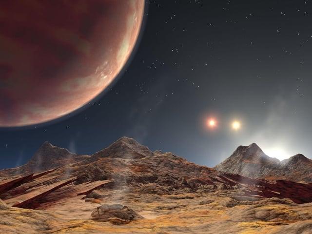 擁有三個太陽的系外行星示意圖。(NASA/JPL-Caltech)