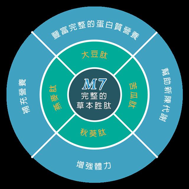 M7胜肽蛋白素,複方胜肽成份專利配方。(M7樂活能量中心提供)