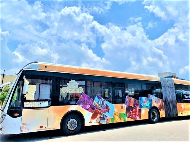 全台首輛迪士尼公車,下半年行駛高美溼地。 (台中市政府提供)