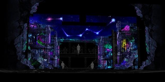 《西哈遊記-魔二代再起》LED屏幕及吊橋將隨場景開闔移動