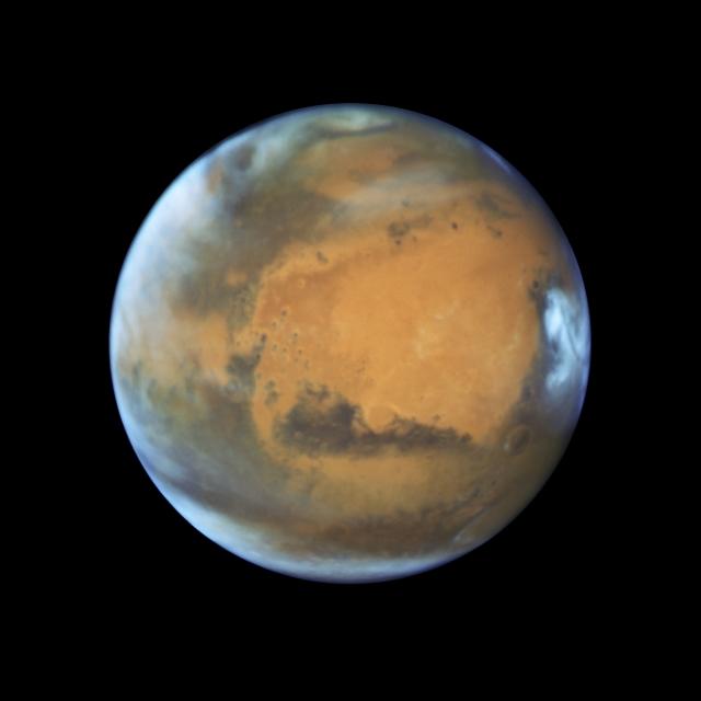 NASA發布哈伯太空望遠鏡拍攝的最新火星照片。(NASA)