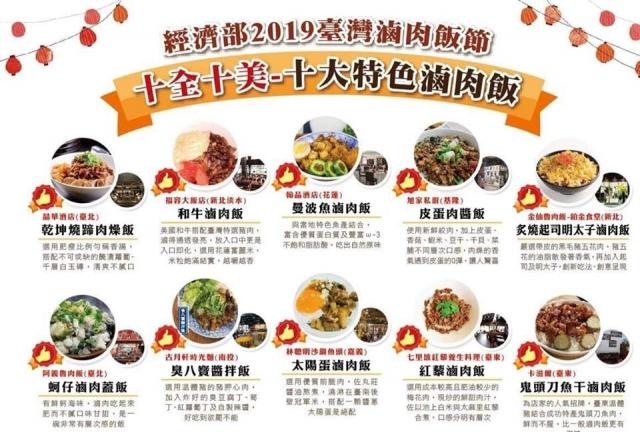 經濟部選出全台「10大特色滷肉飯」。
