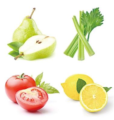 芹菜、番茄、雪梨、檸檬混合搾汁,祛痘效果佳。(Shutterstock)