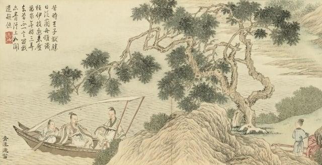 清 金廷標《青溪邀笛》描繪桓伊為泊舟於青溪側的王徽之演奏笛曲的故事。(維基百科)