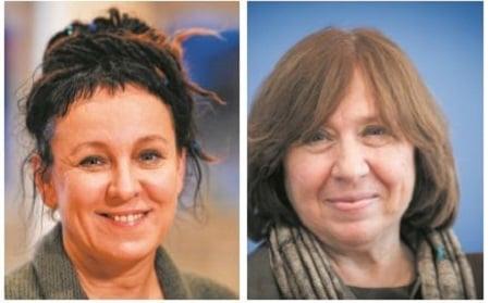 諾貝爾文學獎得主波蘭女作家奧爾嘉.朵卡萩(左)和白俄羅斯女作家斯維拉娜.亞歷塞維奇(右)都是菲茨卡拉爾多出版社的簽約作家。(Getty Images)