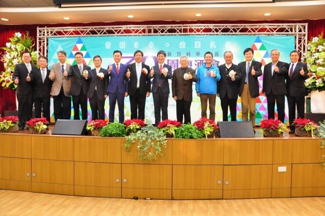 參加竹科39週年慶祝典禮的貴賓合影(記者賴月貴/攝影)