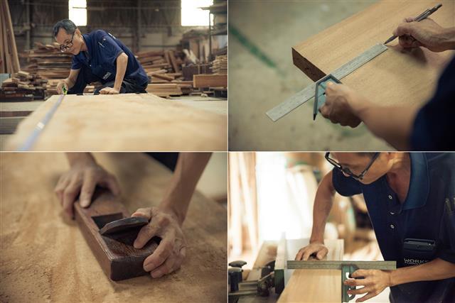 歐克斯柚木(WORKS)專業團隊傳承30年手工家具經驗,作品呈現家具工藝美學至高標準。(歐克斯柚木家具提供)