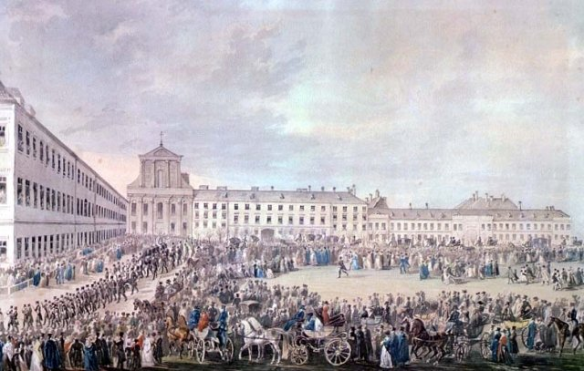 1827年3月29日貝多芬葬禮,由Franz Stober(1795年~1858年)所畫。(維基百科)