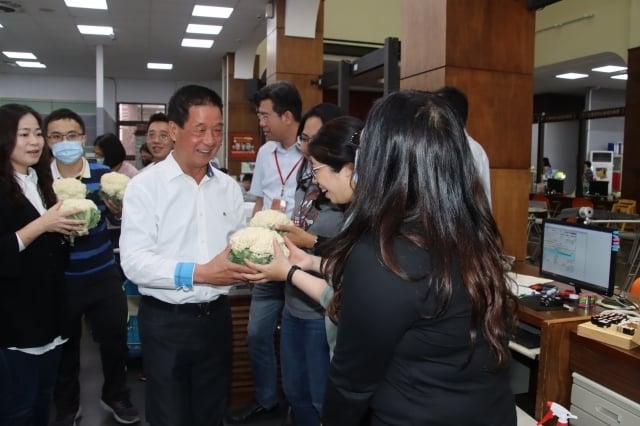台東市長張國洲送給女性員工每人一顆白色花椰菜作為情人節禮物。(台東市公所提供)