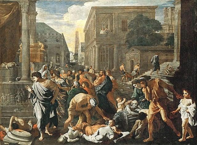 尼古拉斯.普桑(Nicolas Poussin)畫於1630年的油畫《阿什杜德的瘟疫》(The Plague of Ashdod),法國。(維基百科)