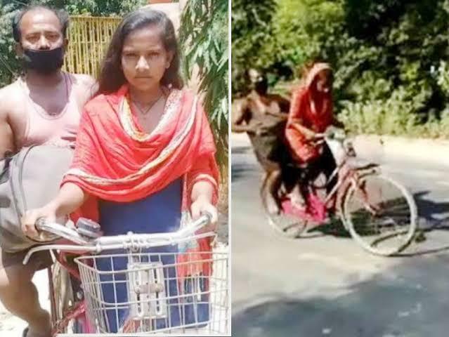 印度一名15歲少女花了7天的時間,騎乘腳踏車歷經上千公里的路程,將在外地打工、因故受傷的父親送回家鄉。(擷自推特)