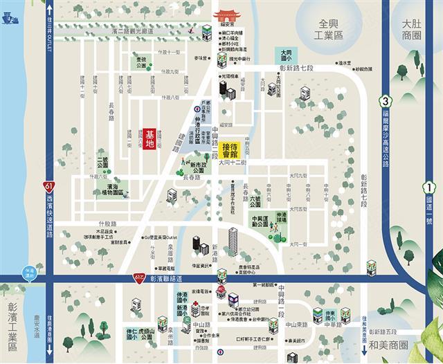 【森邸】 基地與招待所位置圖。(裕國建設提供)