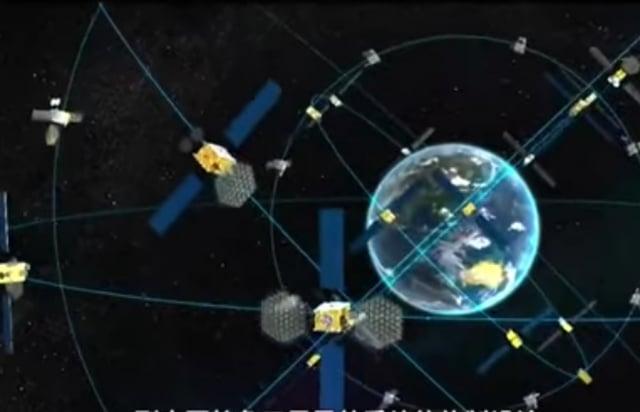 北斗三號衛星導航系統組網示意圖。(影片擷圖)