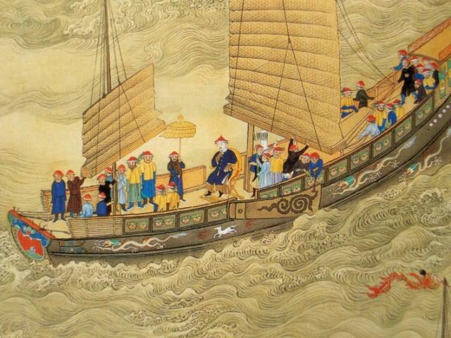 康熙大帝1689年2月南巡抵達杭州時,接受了兩位傳教士獻的禮物。圖為《康熙南巡圖》局部。(維基百科)