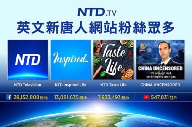 2017年新唐人電視台開通英文數碼平臺,網站、臉書以及YouTube頻道,不到一年多時間,已躋身全球主流媒體網站。(大紀元製圖)