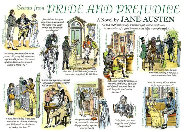布羅克(C. E. Brock)1885年簡•奧斯丁小說《傲慢與偏見》插圖。(維基百科)