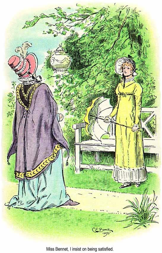 《傲慢與偏見》插圖中的凱薩琳夫人和伊麗莎白。(維基百科)