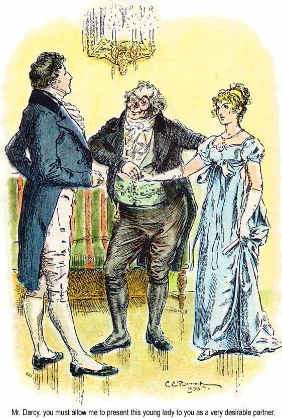 《傲慢與偏見》插圖第6章,伊麗莎白和達西先生。(維基百科)