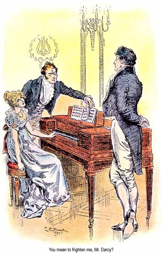 《傲慢與偏見》插圖第31章,伊麗莎白和達西先生。(維基百科)