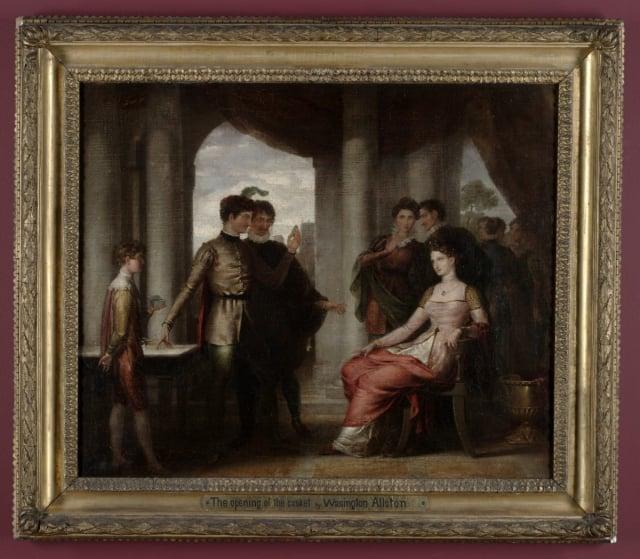 華盛頓·奧爾斯頓(Washington Allston)1807年作品〈《威尼斯商人》中的場景:打開箱子〉,波士頓圖書館收藏。(維基百科)