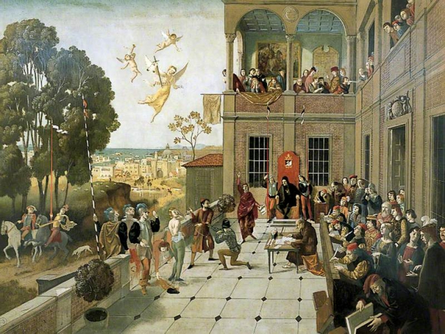 《威尼斯商人》的審判場面。(維基百科)